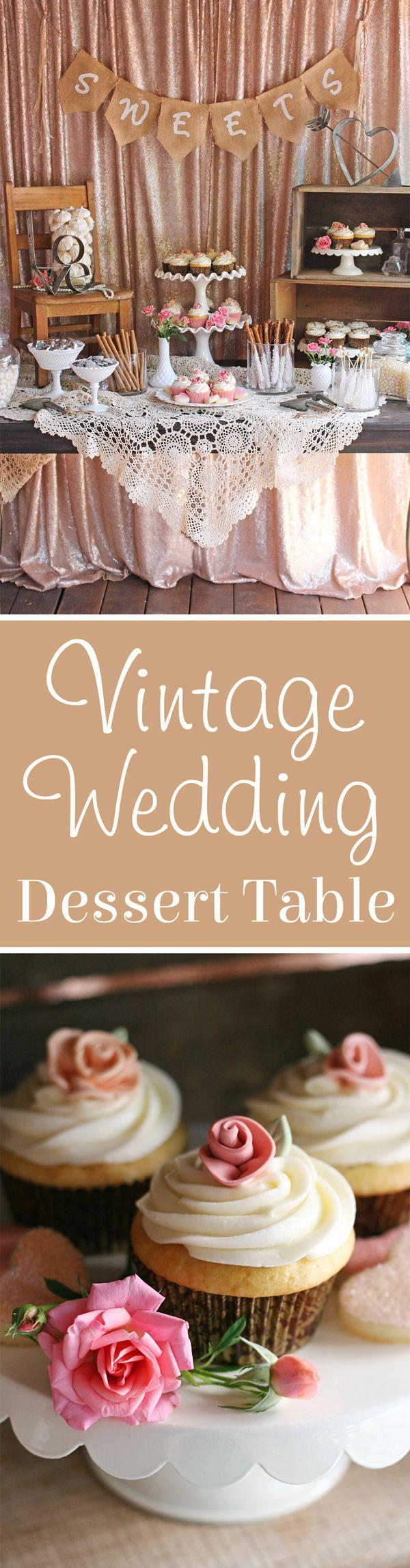 Hochzeit - Vintage Wedding Dessert Table