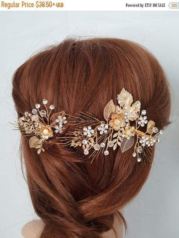 زفاف - Sale 15% Off Rustic Bridal Hair Comb Gold Hair Pin Gold Wedding Hair Comb and Hair Clip Fall Leaves Wedding Hair