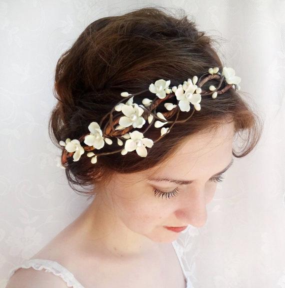 زفاف - ivory flower crown, bridal headpiece, flower crown wedding, bridal hair vine, floral crown adult, wedding headpiece, bridal hair piece #40