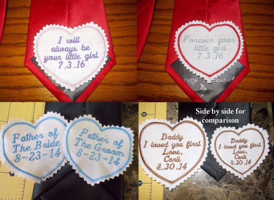 زفاف - Personalized custom made Embroidered Men's Wedding Tie Label Patch Dad Groom SALE