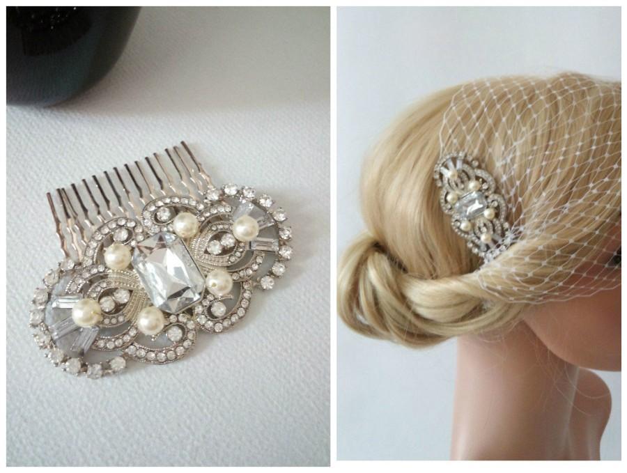 زفاف - Birdcage Veil, Ivory Wedding Veil, Bridal Veil and Bridal Comb, Bandeau Birdcage Veil, Bridal Fascinator, Art Deco Veil, Art Deco Hair Comb