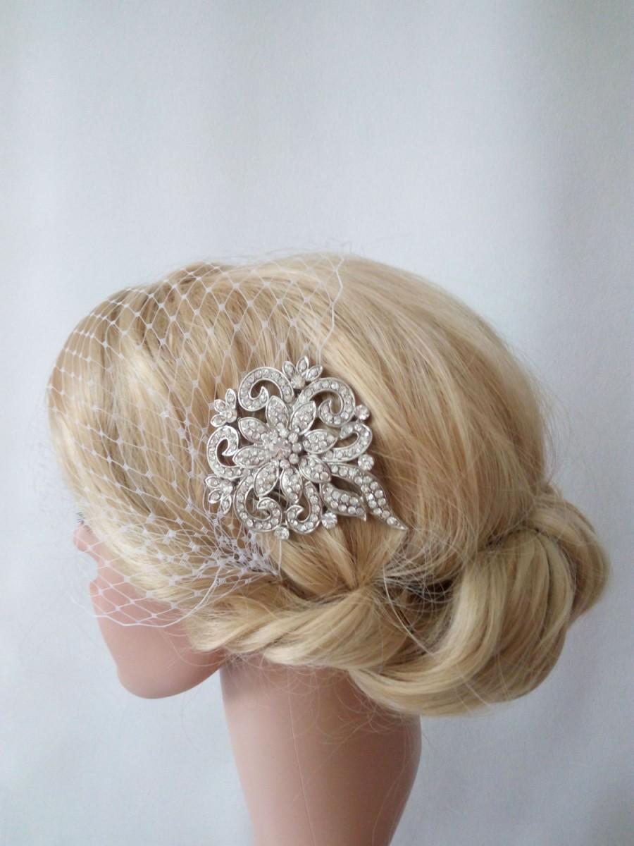 زفاف - Birdcage Veil, Wedding Veil, Bridal Veil and Bridal Comb, Antique Silver Hair Comb, Ivory Birdcage Veil, Hair Fascinator, Rhinestone Comb
