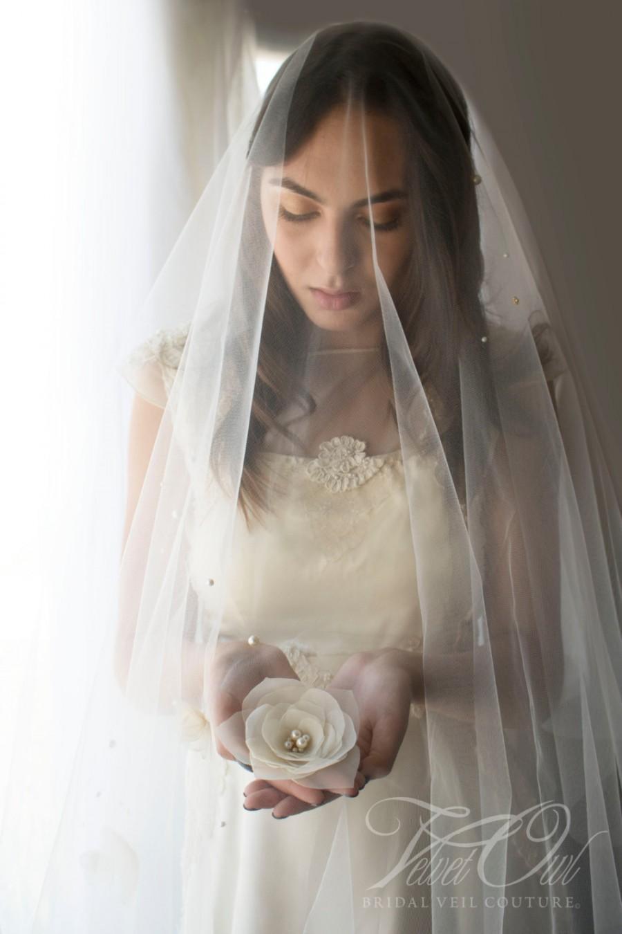 زفاف - Bridal veil, tulle veil, drop veil, flower veil, finger tip length, drape veil, pearl veil, rhinestone veil,