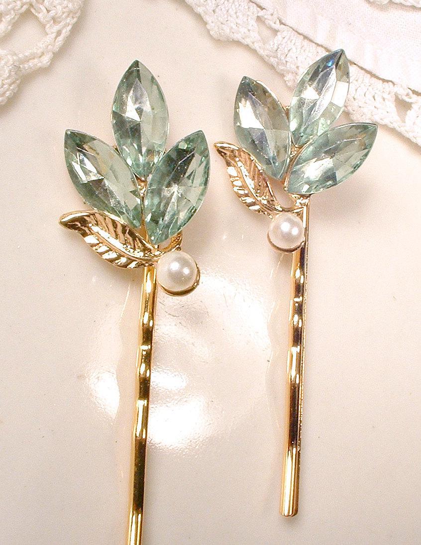 زفاف - Mint Green Gold Leaves Bridal Hair Pins Bridesmaid Gift Set 2 4 6 Rhinestone Pearl Earring Bobby Pins Vintage Wedding Clips Romantic Wedding