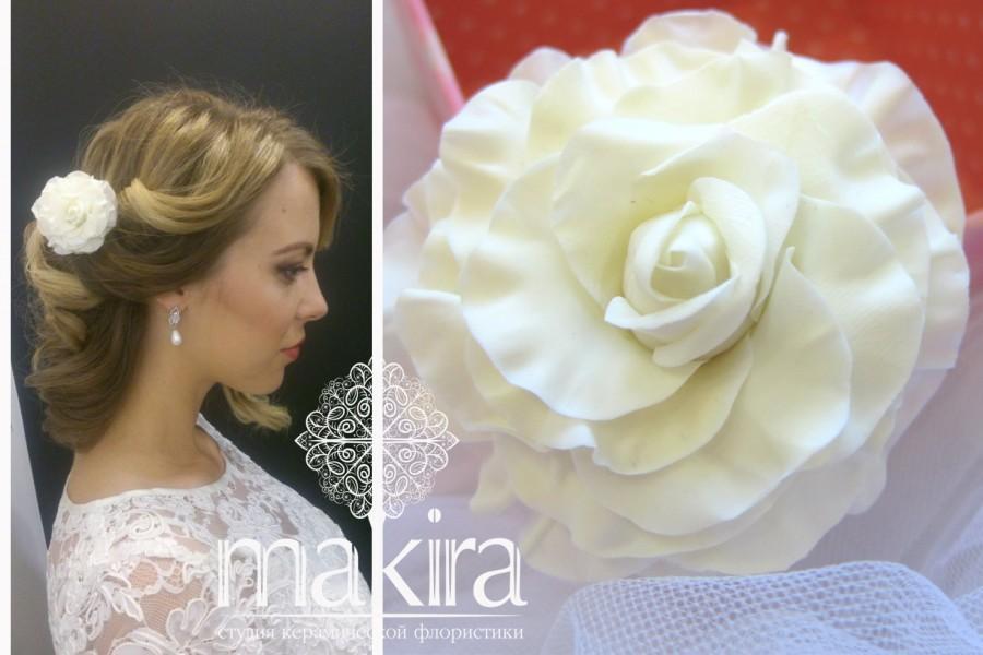 زفاف - Bridal hair flower - Ivory rose, Bridal flower hair clip, Wedding hair flowers. Bridal hair clip. Hair clay flower. Bridal hair accessory