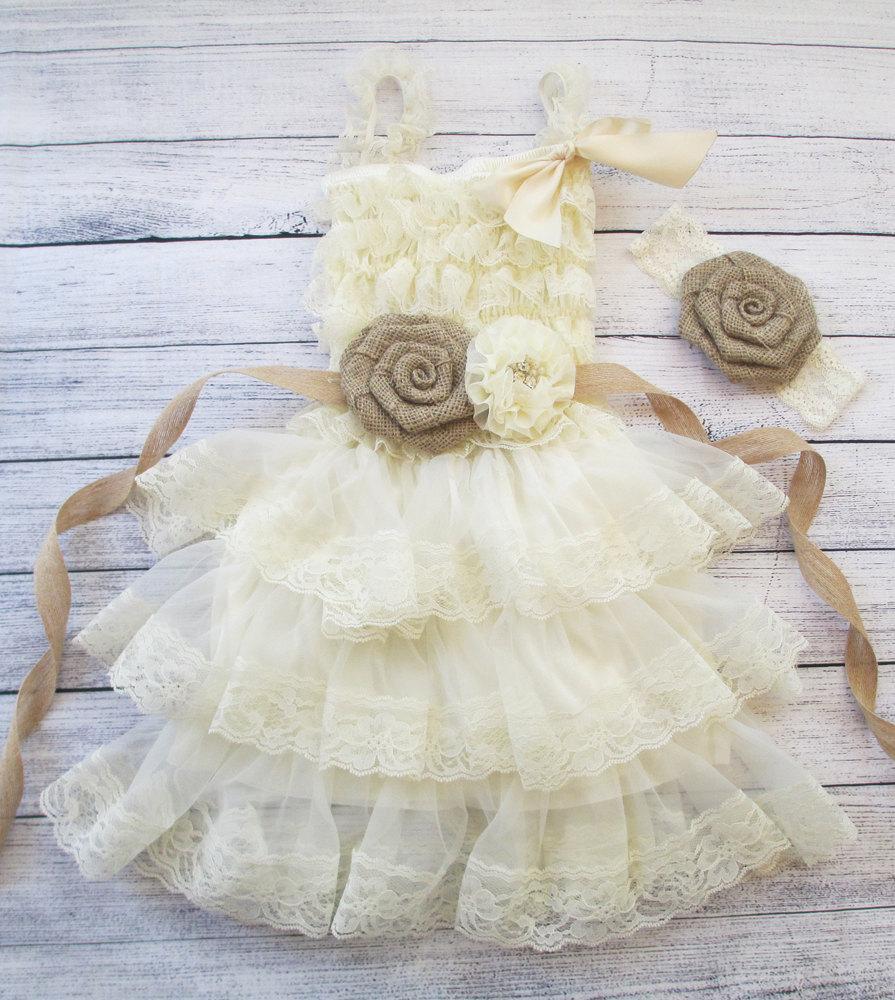 Wedding - ivory flower girl dress, burlap flower dress, girls lace dress, baby girls dress, lace flower girl dress, rustic flower girl dress, country