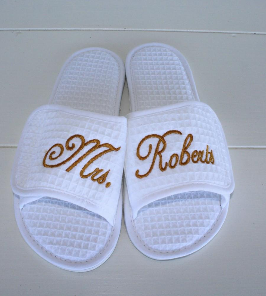 126969ef5 Order Wedding Slippers Custom Embroidery Brides New Name Custom Embroidery  Gifts Under 25 Dollars