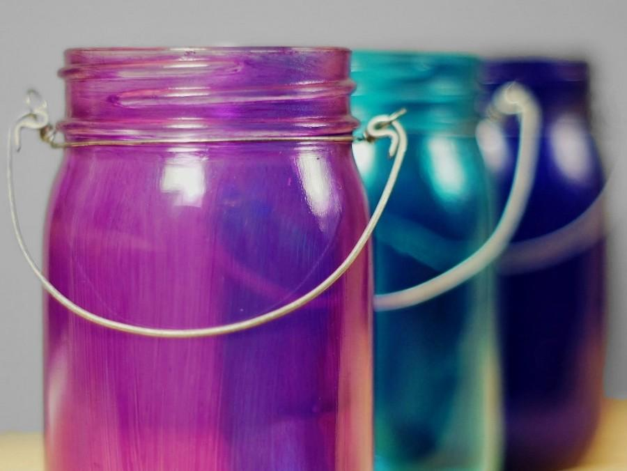 Wedding - Colorful Bohemian Wedding Decor: Three Mason Jar Hanging Lanterns, Cool Jewel Tones from Deep Cobalt  to Amethyst