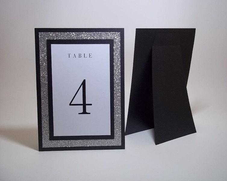 """Wedding - Shimmer Black, Glitter Silver and White Free standing Table Number Cards - 5"""" x 7"""" size - Wedding - Bridal Shower - Dinner - Reception Decor"""