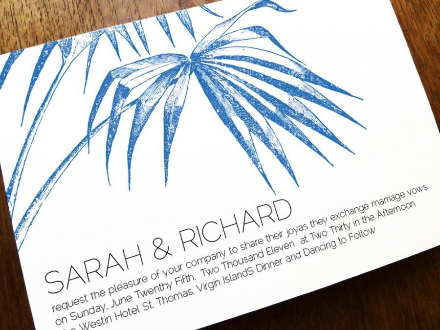 Printable Wedding Invitation Template - Palm - Navy Palm Wedding ...