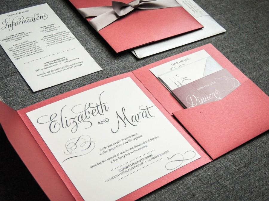 Winter Wedding Invitations Red Black Silver And White Classic