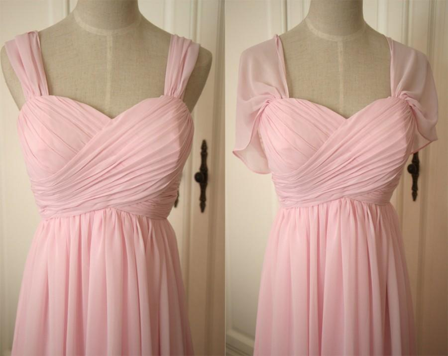 Hochzeit - Pale Pink Sweetheart Bridesmaid Dress with Straps Knee-length/Floor Length Pink Chiffon Straps Bridesmaid Dress