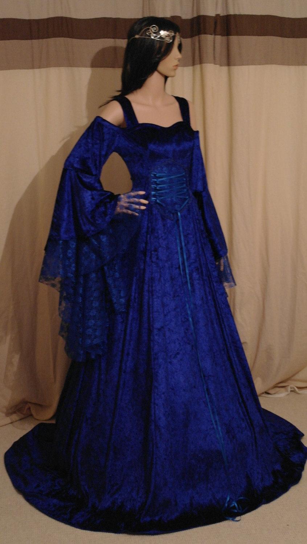 Royal Blue Wedding Dress, Renaissance Dress, Handfasting Dress ...