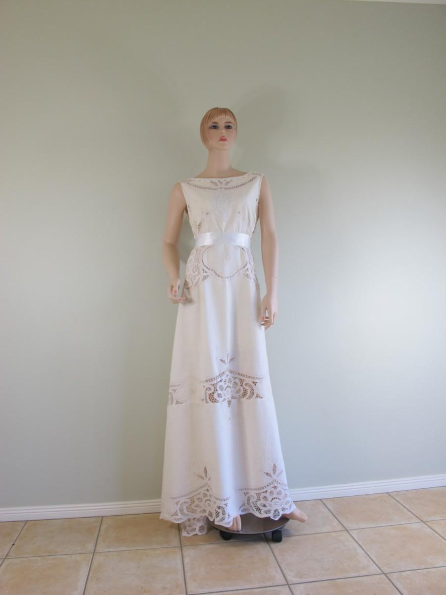 OOAK Elithe Antique Battenburg Lace Bohemian Embroidery Cotton Wedding Dress