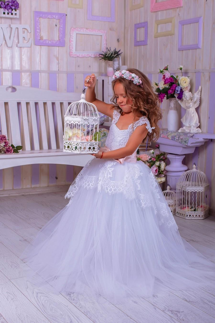 Lace Flower Girl Dresswhite Flower Girl Dresswedding Party Dress