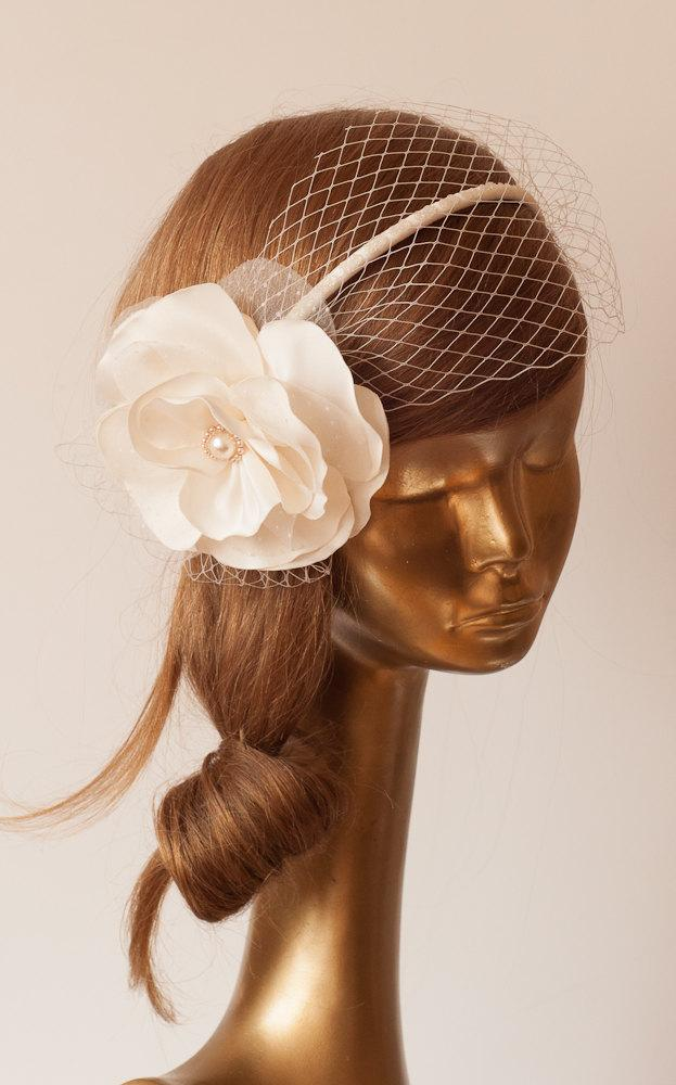 زفاف - BRIDAL BIRDCAGE VEIL.Flower Headband Unique Ivory Cream Flower with Veil . Wedding Hair Accessory. Handmade Taffeta Flower