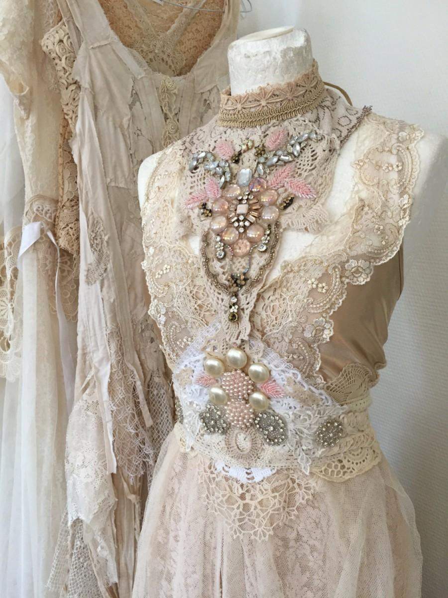 Hochzeit - Wedding dress extraordinary , vintage inspired wedding,antique lace,handcrafted,paris wedding,couture dress Victorian bridal gown, corset la