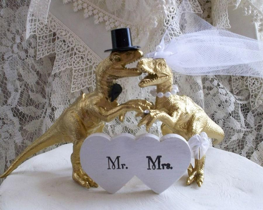 Dinosaur Wedding Cake Topper, Gold Dinosaur, Animal Cake Topper ...