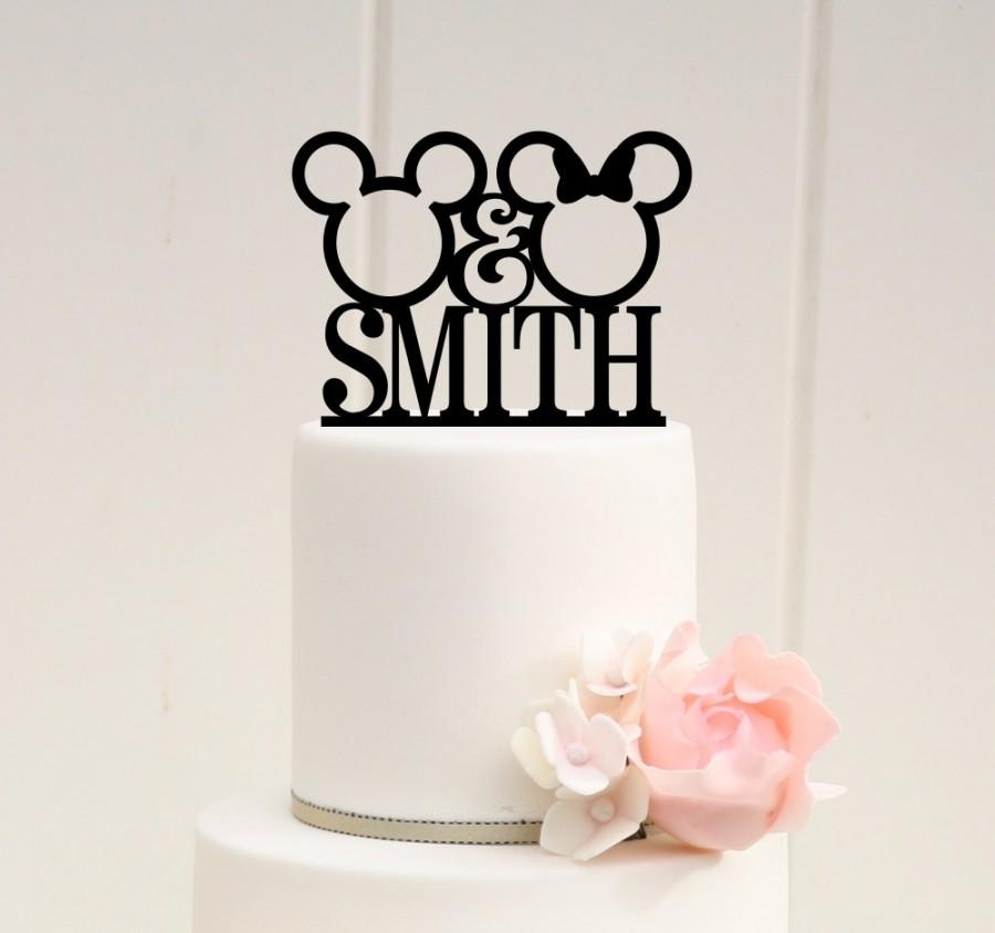 Wedding - Mickey Wedding Cake Topper - Wedding Cake Topper - Cake Topper with Last Name