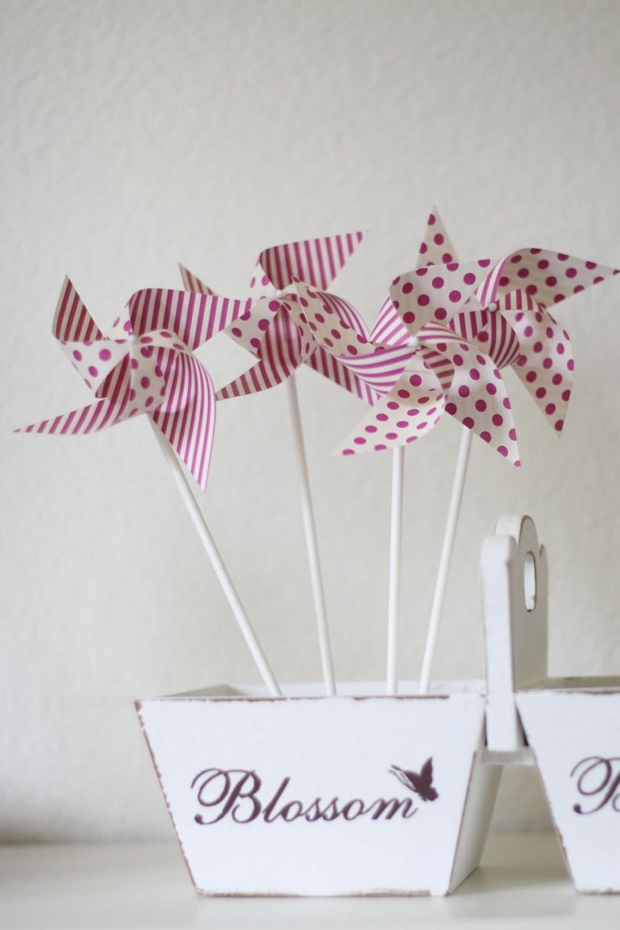 Wedding - Escort cards Favor Polka Dot and Stipes Pinwheels Wedding Favor 12 Mini Spinnable Pinwheels (custom orders welcomed)