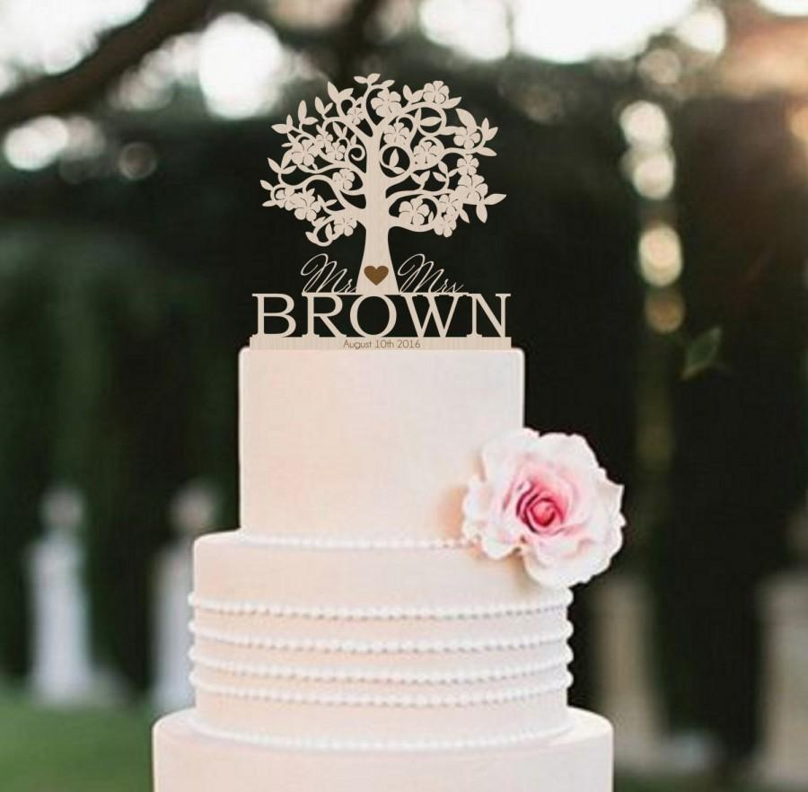 Mr Mrs Wedding Cake Topper Tree Surname Rustic Personalized Wood
