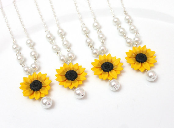 Wedding - Set of 3. 4. 5. 6. 7. 8. Sunflower Necklace, Yellow Sunflower Bridesmaid, Flower and Pearls Necklace, Bridal Flowers, Bridesmaid Necklace