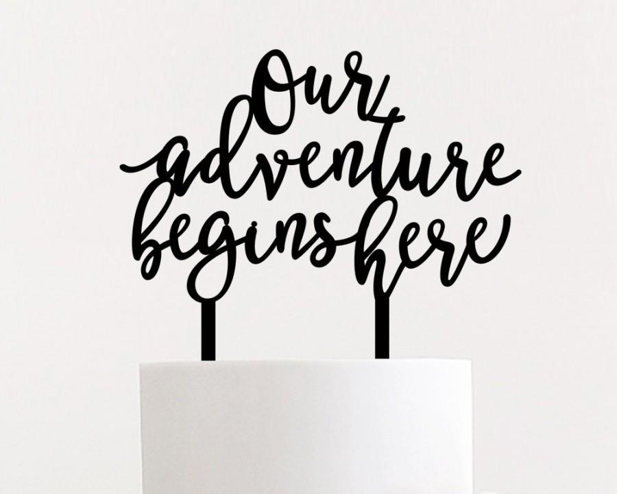 """Свадьба - Our Adventure Begins Here Wedding Cake Topper 6"""" inches"""