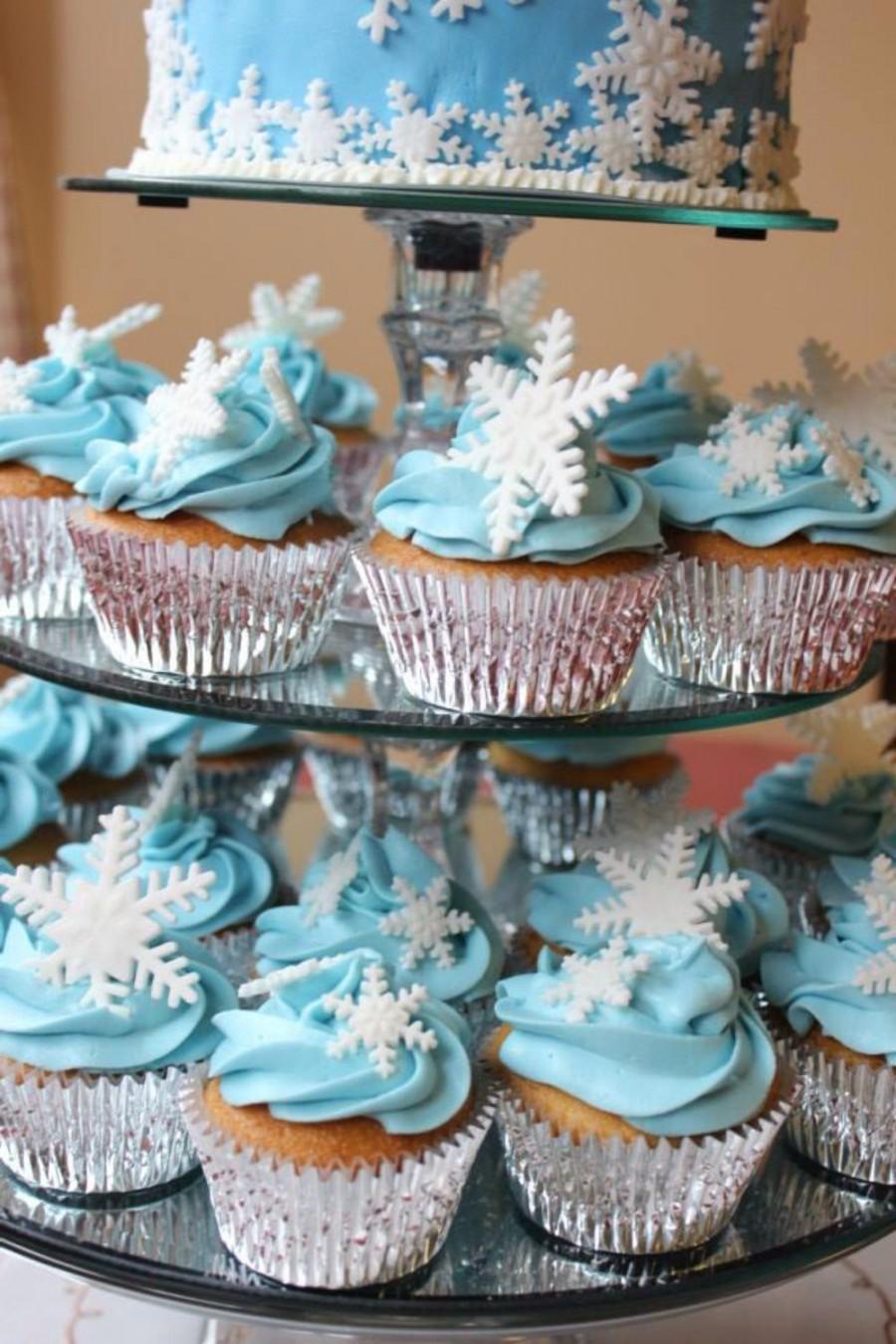 36 Edible Fondant Snowflakes Cupcake Toppers, Cake Topper ...