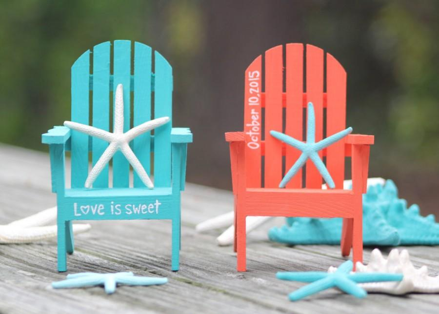 Custom Personalized Hand Painted Adirondack Chair Cake Topper   Beach  Destination Wedding   Turquoise Coral