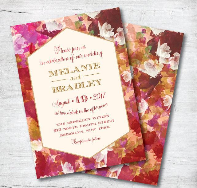 زفاف - Marsala Wedding Invitation, Red Wedding Invitation, Fall Wedding, Wedding, Invitation, Red, Gold, Floral Invitation, Template, Printable