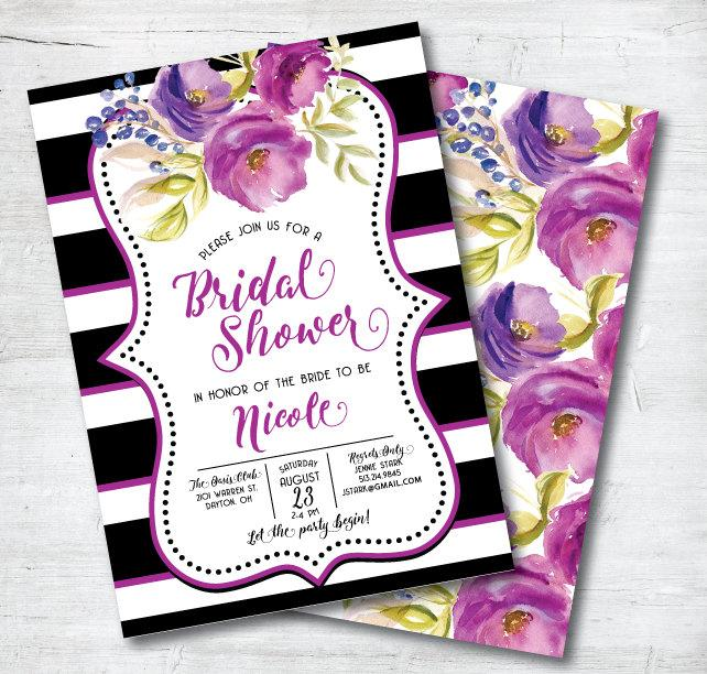 purple bridal shower invitation black and white bridal shower invitation printable bridal shower invitation diy fuschia invitation