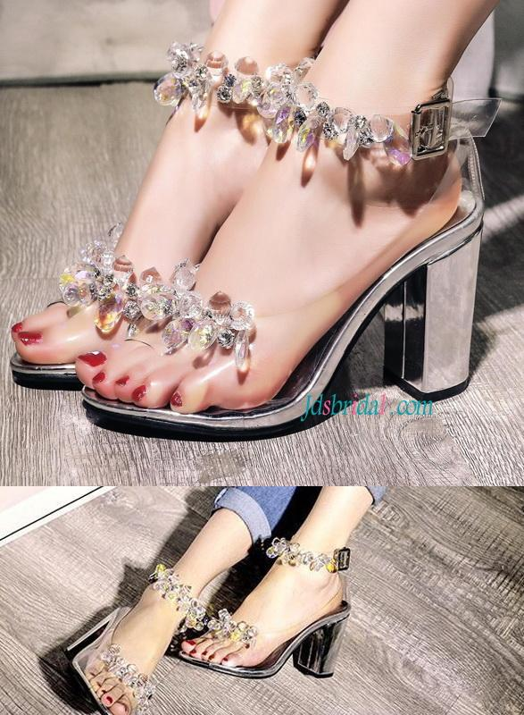 65df5987d5e6cb WS019 Fashion Crystals Chunky Heels Sandals Women s Shoes  2579419 ...