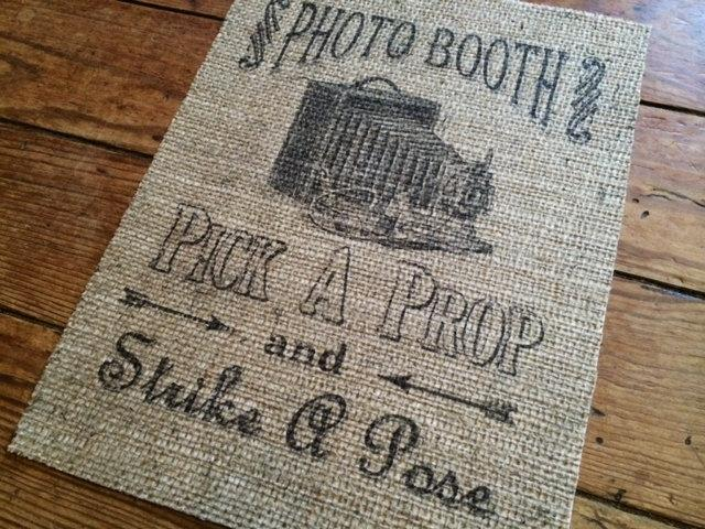 "Wedding - Genuine Burlap Print -- ""Photo Booth""  -- Wedding Decor -- Rustic Wedding"