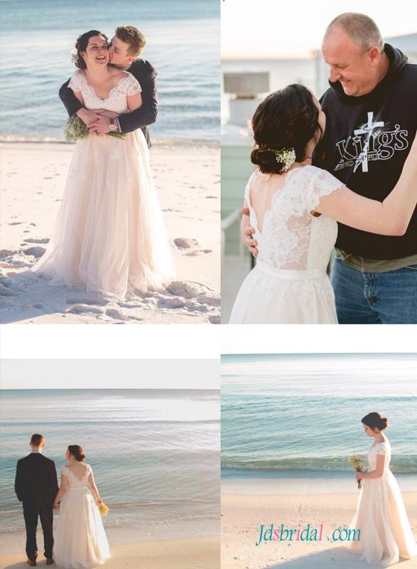 Wedding - Elegant nude color cap sleeved illusion lace back wedding dress