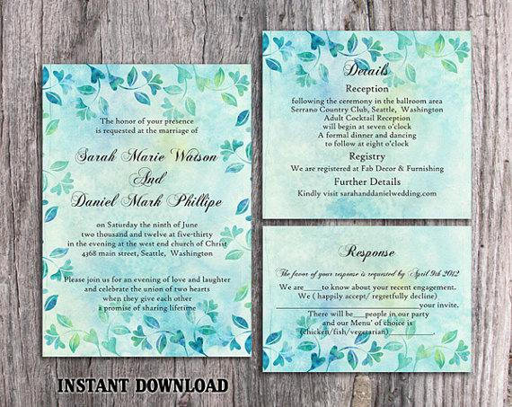 DIY Rustic Wedding Invitation Template Set Editable Word File - Diy rustic wedding invitations templates