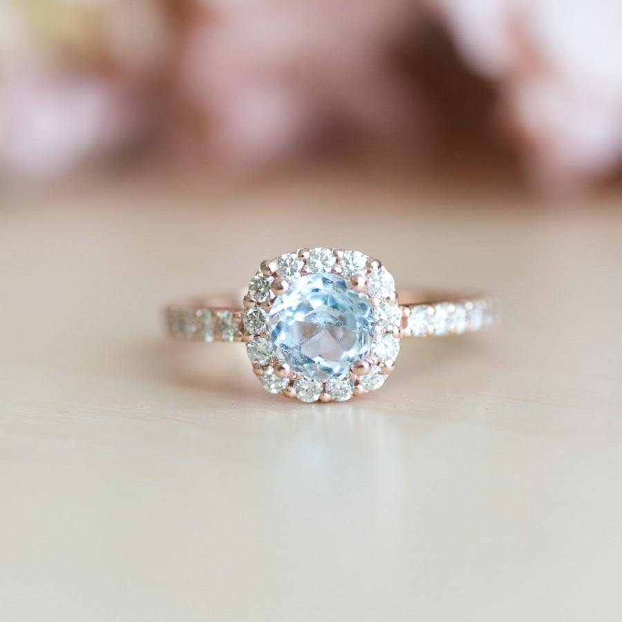 Mariage - Aquamarine Rose Gold Ring, Cushion Cut Engagement Ring, Diamond Halo Ring, Aquamarine Engagement Ring, Aquamarine Jewelry