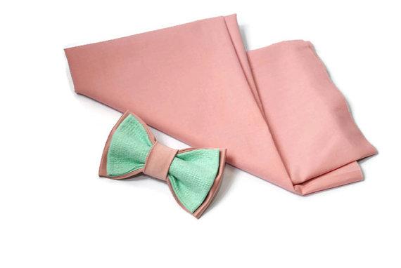 Mariage - wedding bow tie men's bowtie embroidered bowtie mint pink bow tie blush ties groomsmen neckties gift for him anniversary gift mint tie mintu