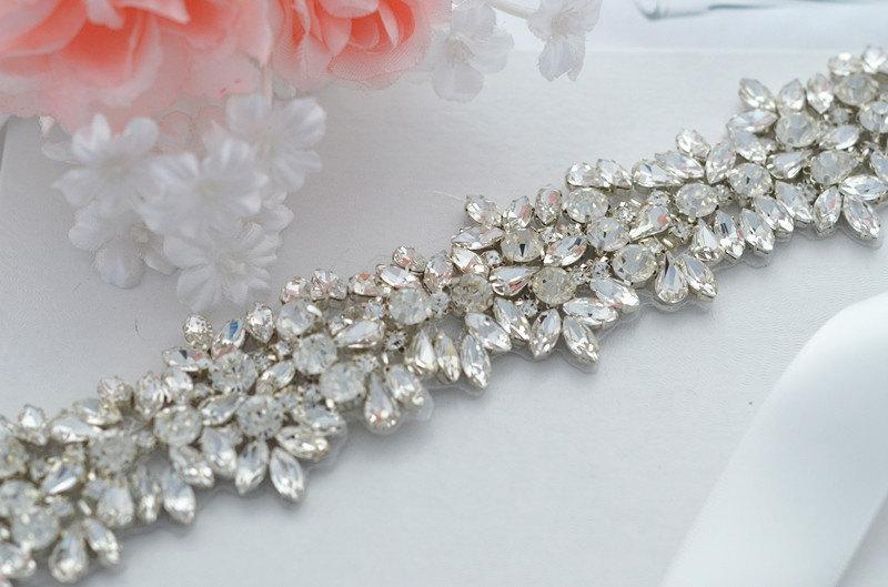 زفاف - SALE JASMINE SWARVOSKI wedding crystal sash , belt