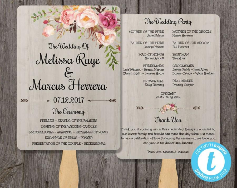 Mariage - Wedding Program Fan Template, Bohemian Floral, Instant Download, Edit in Our Web App Right in Your Browser, Boho Watercolor Flowers