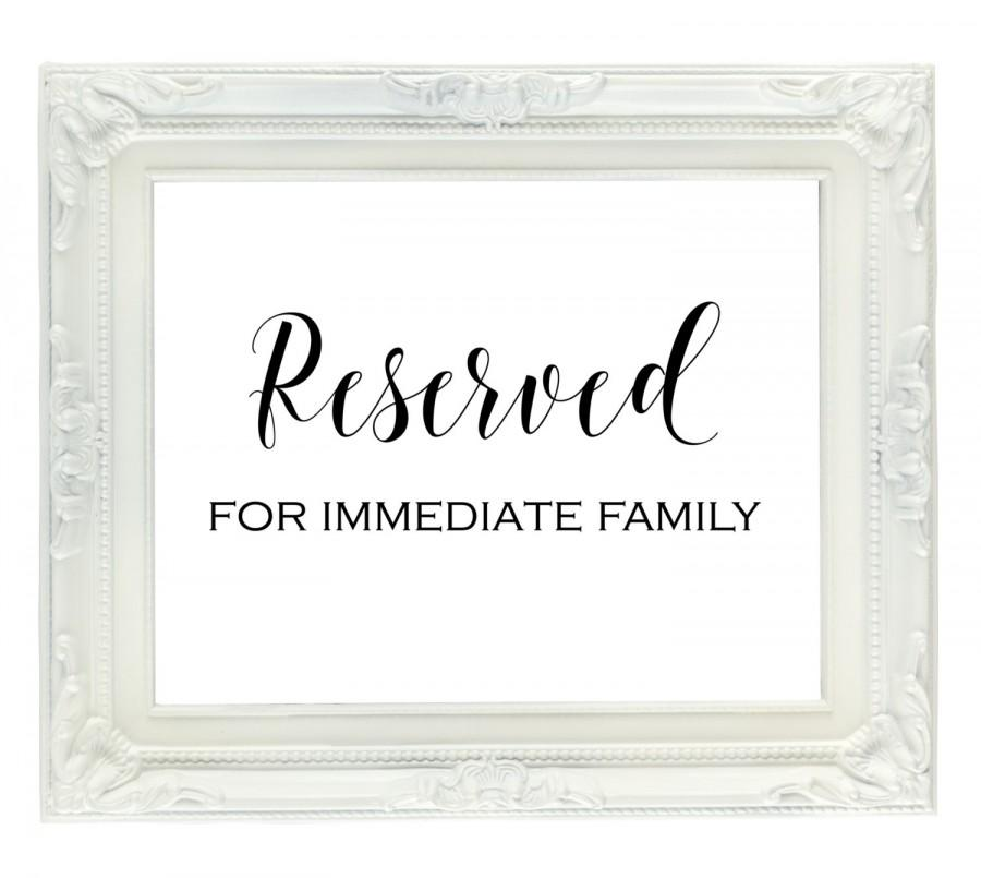 Mariage - Reserved for family sign, reserved seating sign, wedding reception sign, 5x7 reserved sign, reserved table sign, printable reserved sign