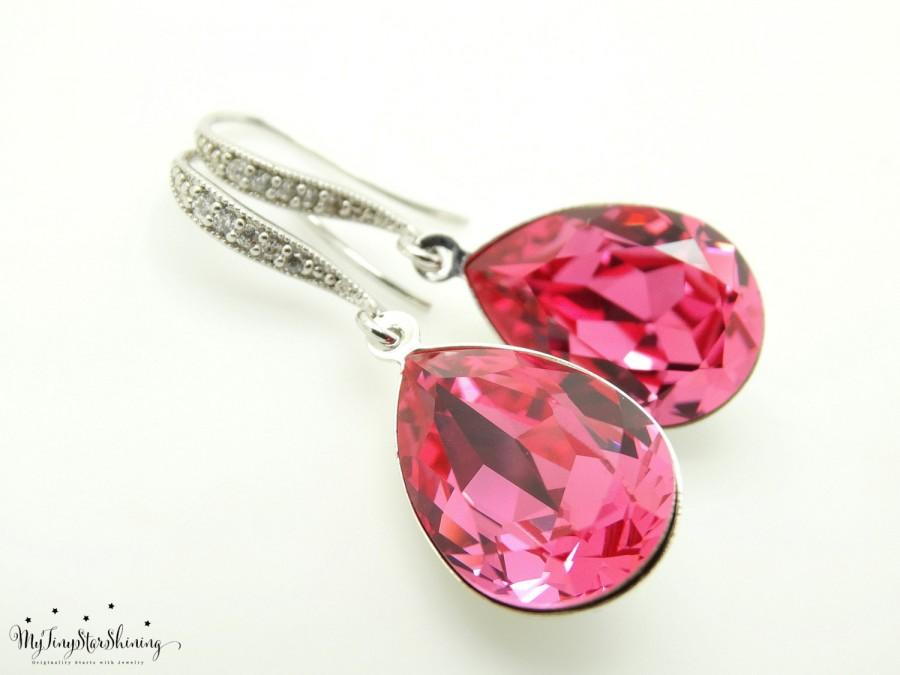 Swarovski Crystal Pink Earrings Bridal Teardrop Hot Bride Bridesmaid Gift Wedding Jewelry