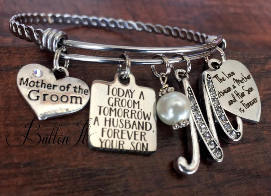 Mariage - Mother of the GROOM gift, Today a Groom Tomorrow a Husband, Mother in law gift, charm Bangle bracelet, wedding keepsake, Mother of the Bride