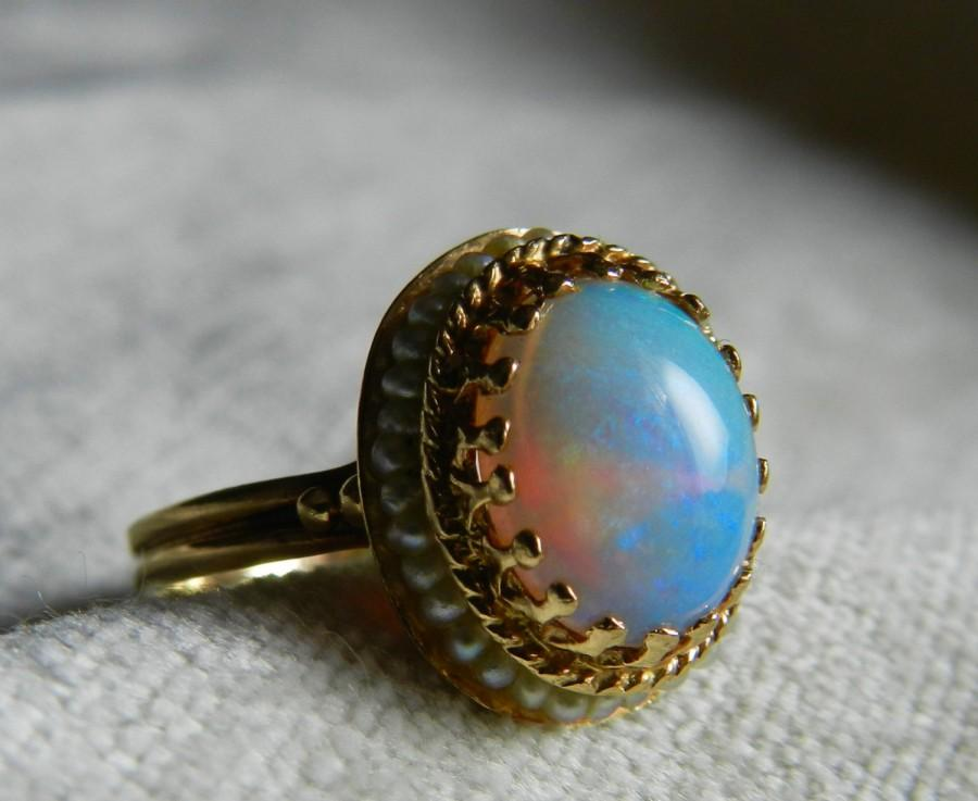 Mariage - Opal Ring 14K Opal Engagement Ring Antique Opal Seed Pearl Ring Art Deco 14K Gold Ring October Birthday