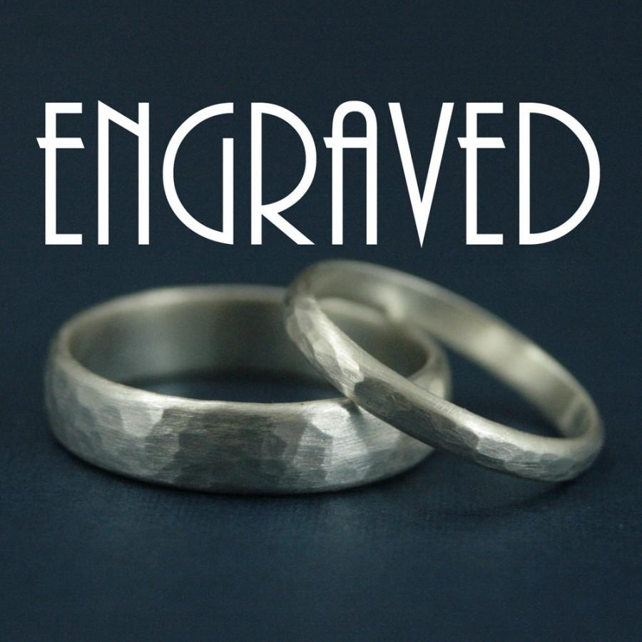 hammered bands with inside ring engraving personalized