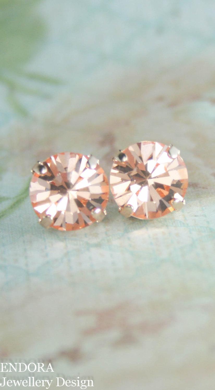Свадьба - Peach crystal earrings,stud earrings,big stud earrings,crystal stud earrings,11mm stud earrings,peach bridesmaid earrings,peach crystal stud