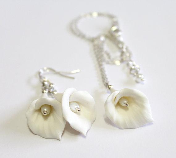 Hochzeit - White Calla Lilies Set - Calla Lilies Jewelry Set - Gifts - White Calla Lilies Bridesmaid, Necklace, Bridesmaid Jewelry Set