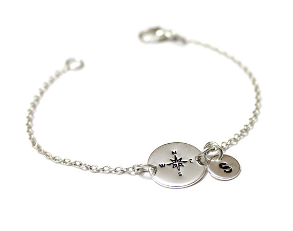 Personalized Comp Bracelet Sterling Silver Best Friend Initial Nautical Jewelry Friendship
