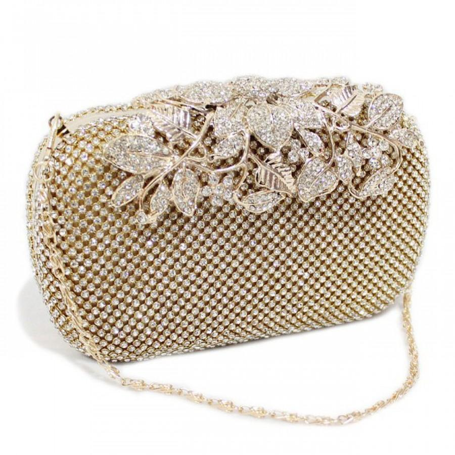 Wedding Clutch: Gold Wedding Clutch, Bridal Clutch, Champagne Clutch