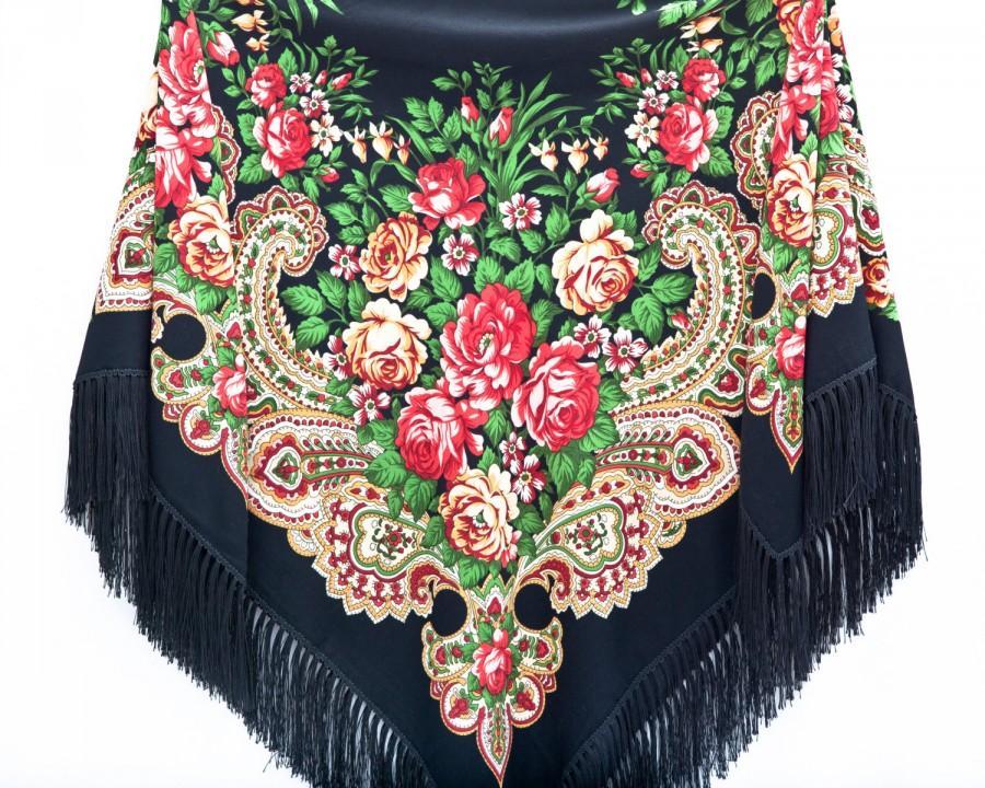 Wedding - Black Bohemian Shawl Black Floral Scarf Beautiful Ukrainian shawl Mother Day Gift Long Scarf Grandma Gift Black Fashion Scarf Boho Poncho