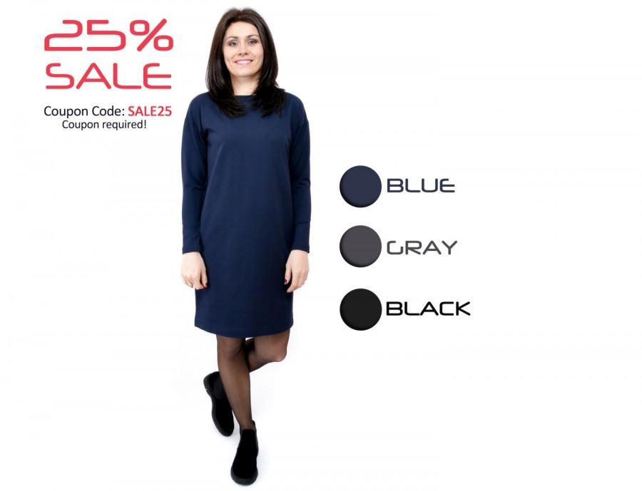 3f42e1e3b9cb Loose dress Day dress Plus size dress Blue dress Dark gray dress Black  formal dress Women сotton clothes Casual dress Office dress